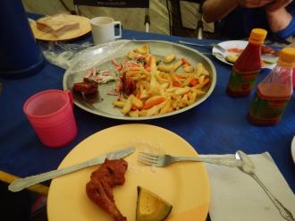 Chicken, chips, and Avocado Slice for Dessert