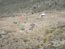 Looking down on what's left of camp