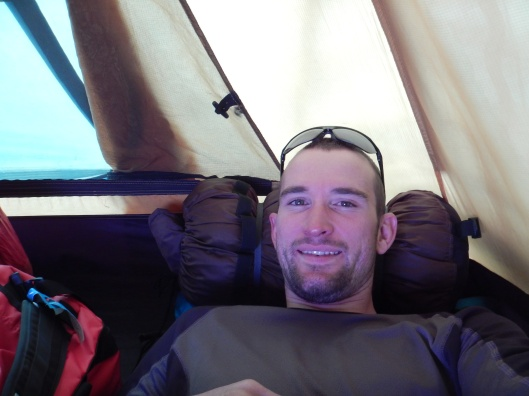 Relaxing in the tent after a good day of hiking