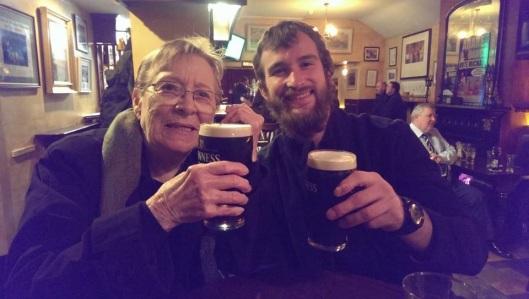 Enjoying a Pint with my Nanny Grandma