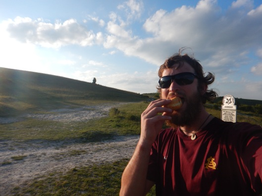 A jelly doughnut at Ivinghoe Beacon to celebrate the finish...I think yes!!!