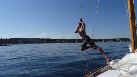 Rope swing off the boat!