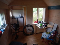 Tiny living room and doctoring the bike