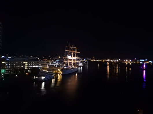 Nighttime lights in the Gothenburg Harbor