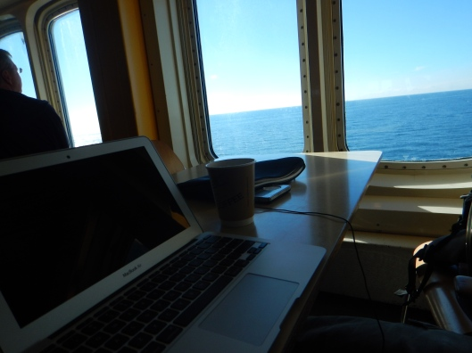 Getting some work done on the ferry