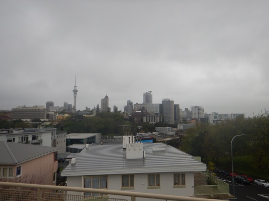 View of Auckland with some overcast and rainy weather